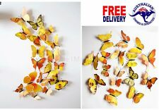12Pcs 3D Yellow Butterfly Decals Wall Removable Sticker Kids Art Magnets Decor