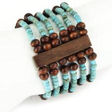 Estilo Étnico Pulsera Madera Y Turquesa Cristal Seed Beads elástica
