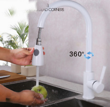 White Pull Out /Down Bath Brass Basin Sink Faucet Deck Mount One Hole Mixer Tap