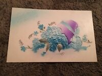 Vintage Postcard Unposted Easter Greetings Purple Egg With Blue Bow And Flowers