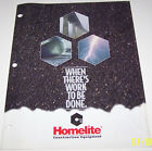 HOMELITE CONSTRUCTION EQUIPMENT ADVERTISING BROCHURE AND SPECIFICATIONS CHART
