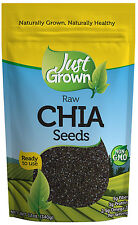 Just Grown Raw Chia Seeds, 12-Ounce Bag Non-GMO, Omega-3, Kosher, FREE Shipping
