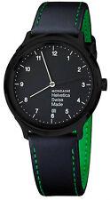 Mondaine MH1.R2221.LB Helvetica No1 Regular Dial Men Black Leather Watch New