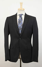 New. VERSACE COLLECTION Black Shadow Striped Wool 2 Button Suit 54/44 R $1395