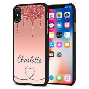PERSONALISED NAME Glitter HEART Phone Hard Case Cover For iPhone 12 164-1 Black