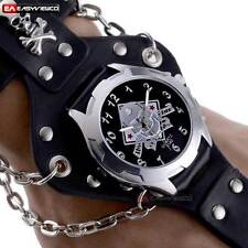 Fashion Quartz Steampunk Skull Ring Chain Stainless Analog Wrist Watch Leather A