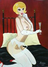 H.Schmidt Akt Erotik*Sweet Lady*frau nackt dessous bett sekt wein 31x23, Acryl