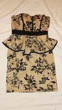 Mystic Bodycon Dress with ruffle waist nude/black floral size xs/0