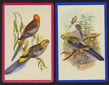 2 Single VINTAGE Swap/Playing Cards BIRDS COLOURFUL PARROTS BUDGIES