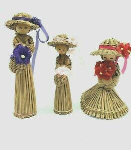 3 Vintage Wicker Broom Straw Doll Girl Figurine Primitive Folk Art Handcrafted