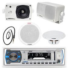 "Black 3.5"" Box Speakers,6.5"" Speakers,Pyle White Bluetooth USB Radio,Antenna,Amp"