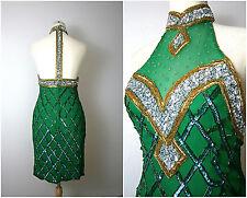 Vintage Art Deco Custom Size Great Gatsby Hand Beaded Dress Green Gold Flapper