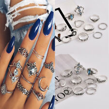 11Pc/Set Women Vintage Antique Silver Knuckle Midi Mid Finger Rings Boho Jewelry