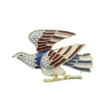 Red White and Blue Patriotic Eagle Rhinestone Pin Brooch Broach