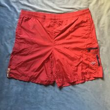 VINTAGE TOMMY HILFIGER ATHLETICS Mens USA Red Swim Trunks Shorts Size Large