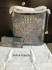 Brahmin Melbourne Katie Iridescent Leather Crossbody Bag Mother of Pearl