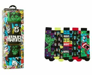 """New w Tag"" Marvel Comics Licensed Mens 5 Pack Crew Socks Gift Box - Size 6-10"