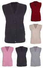 Womens Sleeveless Knitted Cardigan Ladies Cable Knit Waistcoat V Neck Top
