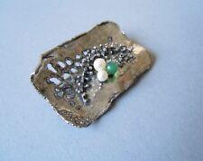 Modernist 925 Silber Brosche 2 x Perle 1 x grüne Kugel 10,1 g/4,0 x 2,6 cm