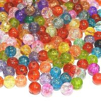 GX4013 Assorted Mixed Color 8mm Round Crackle Glass Beads 330-grams (500 Beads)