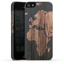 Apple iPhone 5 Premium Case Hülle Cover - Wooden World Map