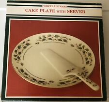 Porcelain Ware Holiday Cake / Pie Plate And Server Christmas Party Serving