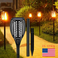 2 Pcs 96 LED Waterproof Flickering Flame Solar Torch Light Garden Lamp Outdoor