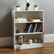 Cambridge 3 Tier Low Bookcase Display Shelving Storage Unit Wood Stand White New