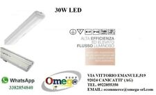 PLAFONIERA STAGNA LED 30W 120cm LUCE FREDDA 6500K 220-240V RESISTENTE FINO 40°