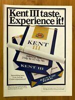 1981 Kent III Cigarettes Vintage Print Ad/Poster Pop Art Retro Man Cave Decor