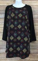 Lularoe Randy T Size 3XL 3X Women's Plus Black Aztec Tribal Raglan Shirt Top Tee