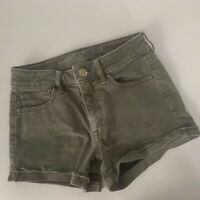 American Eagle High Rise Shortie Super Stretch Green Denim Shorts Women's Size 2