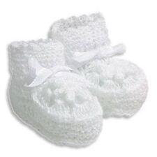 CROCHETED NEWBORN BOOTIES ~ WHITE ~ Perfect Baby Gift!!