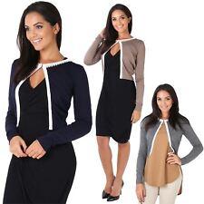 Womens Ladies Cardigan Knit Bolero Shrug Silk Pearl Neck Long Sleeve Top Work