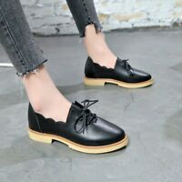 Women Ladies Vintage Low Block Heel Lace Up Oxford Brogues Casual Shoes Size 8