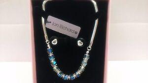 Jon Richard Blue/Silver multi Facet Bead Necklace & Heart Stud Jewellery Set