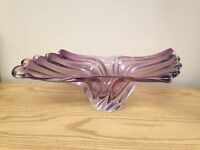 Vintage Ruffled Swirled Art Glass Bowl