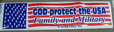 """Patriotic Decal / Bumper Sticker / """" God Protect The USA Family And Military """""""