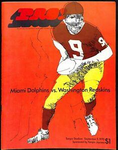 1970 Miami Dolphins v Washington Program 9/5 Tampa Stadium Ex/MT+ 66166