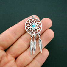 2 Dream Catcher Charms Antique Silver Tone with Faux Turquoise - SC5780