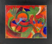 Komposition Abstrakt Blaue Spirale über Rot HO Monogramm Skandinavien Vintage