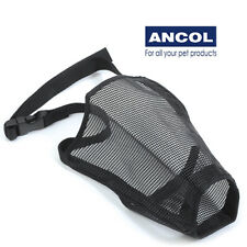 Ancol Nylon Mesh Dog Muzzle Breathable Adjustable Fabric Comfy Black