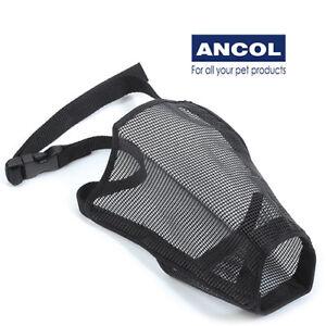 Ancol Nylon Mesh Dog Muzzle Breathable Adjustable Fabric Comfy Black