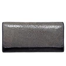 Genuine Stingray Skin Polished Leather Men Bifold Clutch Long Wallet 2PTVD Black