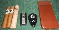 Colibri Cigar Lighter Xikar Cutter and Leather Case with 3 cigars