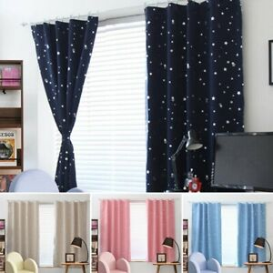 1x Curtains Kids Boy Girls Star Blackout Room Thermal Insulated Drapes Decor