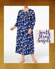 CHARTER CLUB ~  ROSE GARDEN BLUE FLORAL ~ V-NECK LONG FLANNEL NIGHTGOWN  ~ 2X