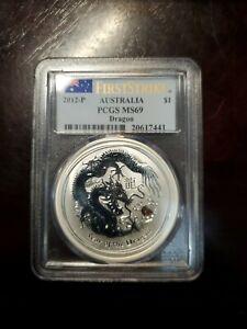 1 oz 2012 Perth Lunar DRAGON PCGS MS69 Silver Coin FIRST STRIKE!