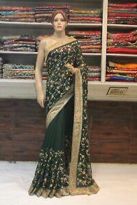 Silk Bollywood Embroidered Designer Green Saree Ethnic Indian Bridal Party Sari