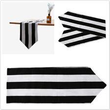 Black And White Striped Table Flag Tea Cabinet Tea Cover Tablecloth Decor SO
